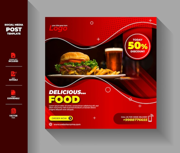 Lebensmittelverkauf social media post instagram square banner