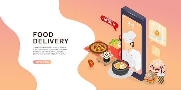 Lebensmittelversand handy. chefkoch, der essen auf dem mobilen bildschirm serviert.