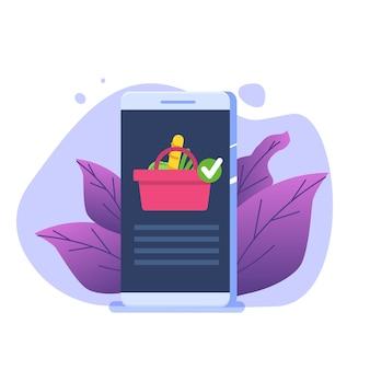 Lebensmittelversorgungskonzept mit smartphone. cartoon-illustration