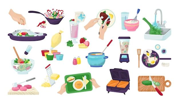 Lebensmittelzubereitungssatz von küchenkoch- und essenszubereitungshänden, illustration. rezepte mit lebensmitteln und küchenutensilien, utensilien und gehacktem gemüse. chef restaurant menü, fleisch, salat