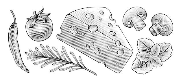 Lebensmittelzutaten im gravierten stil an der tafel