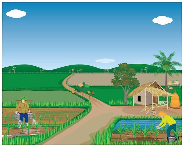 Lebensstil der leute am landschaftsvektordesign