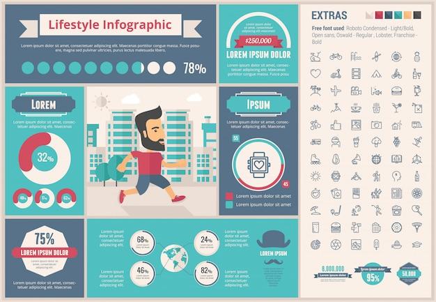 Lebensstil flaches design infographik vorlage