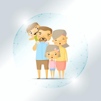 Lebensversicherungskonzept mit glücklicher familie geschützt im polygonalen kugelschild