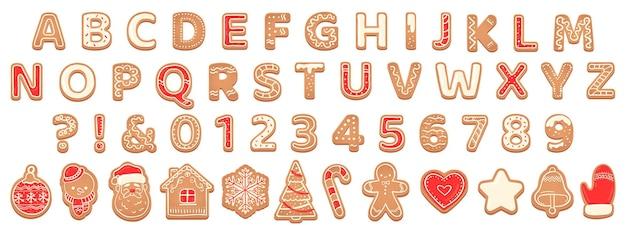 Lebkuchen-alphabet. weihnachtsplätzchen und keksbriefe für weihnachtsfeiertagsnachricht. gebäck lebkuchen englische kindische schrift vektorset abc weihnachten, süße schrift lebkuchen illustration