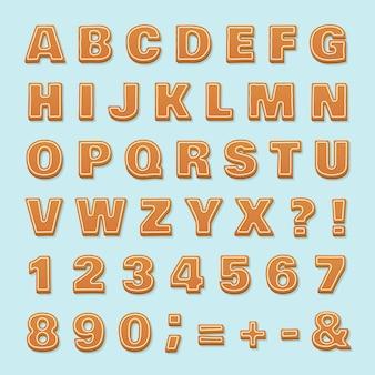 Lebkuchen-alphabet. weihnachtsvektor-ingwerplätzchen