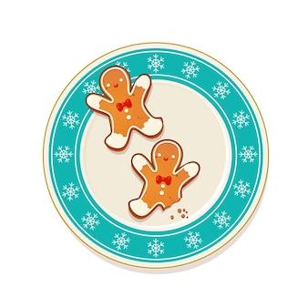 Lebkuchen-weihnachtsplätzchen auf blauem teller mit schneeflocken. draufsichtvektorillustration für neues jahr- und winterferiendesign.