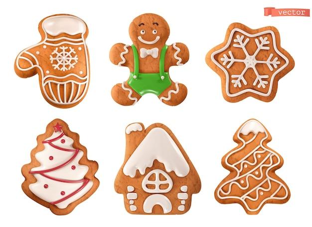 Lebkuchen zu weihnachten. handschuh, mann, schneeflocke, baum, haus. 3d realistischer vektor-icon-set