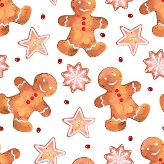 Lebkuchengebäck aquarell nahtlose muster weihnachtstapete