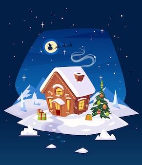 Lebkuchenhaus im wald mit mond. santa silhouette vor dem hintergrund des mondes. weihnachtskarte, plakat oder banner. vektorillustration.