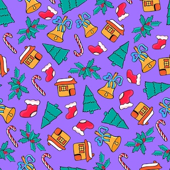 Lebkuchenhaus, süßigkeiten, weihnachtssocke, glocke. weihnachten nahtlose muster. festliches design für das neue jahr im doodle-stil.