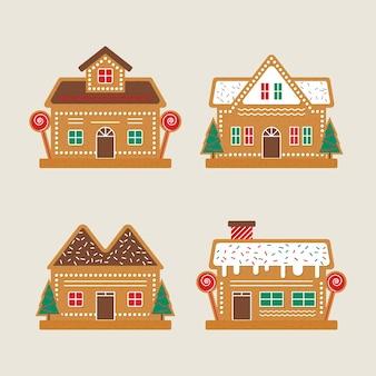 Lebkuchenhaussammlung im flachen design