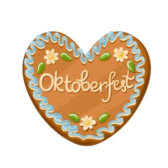 Lebkuchenherz verzierte zuckerglasur mit aufschrift oktoberfest. süßes symbol des bierfestes oktoberfest. vektorillustration im cartoon-stil.