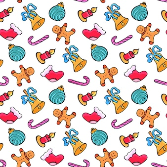 Lebkuchenmann, süßigkeiten, weihnachtssocke, glocke. weihnachten nahtlose muster. design für das neue jahr im doodle-stil.