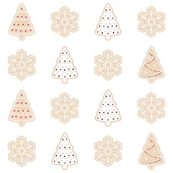 Lebkuchenmuster-hintergrundsatz der frohen weihnachten