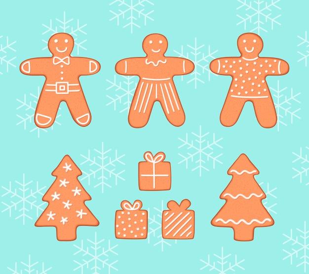 Lebkuchenplätzchen-weihnachtssatz