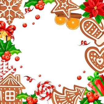 Lebkuchenplätzchenmuster. weihnachtskonzept für grußkarte. illustration auf weißem hintergrund. leerer raum in der mitte