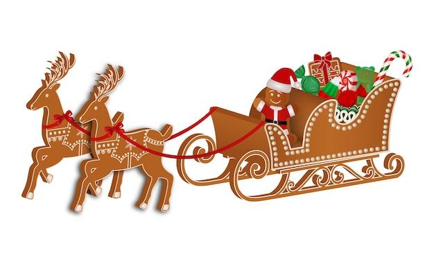 Lebkuchenschlitten mit lebkuchenmann und weihnachtssüßigkeiten