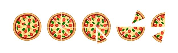 Lecker geschnittenes pizzaset. stück margherita mit tomaten-, käse-, basilikum-draufsicht lokalisiert auf weißem hintergrund. flache traditionelle italienische fast-food-ikone. illustration für web, werbung, menü