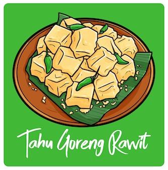 Lecker tahu goreng rawit ein indonesischer snack im doodle-stil
