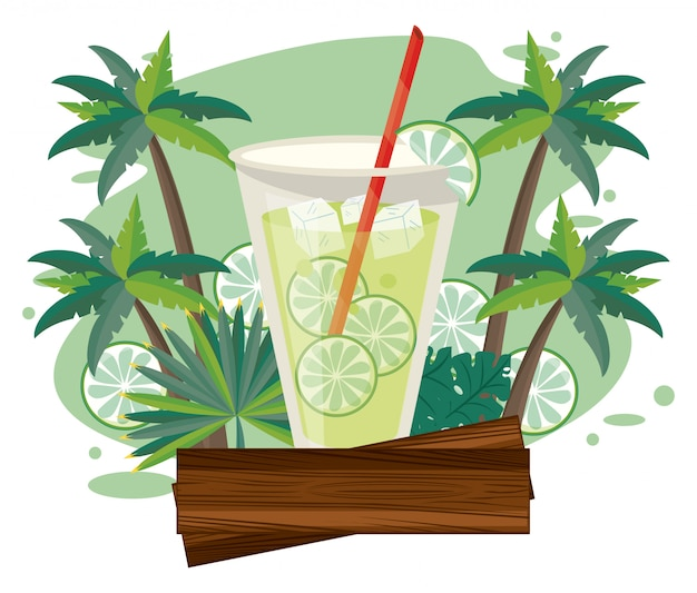 Lecker und erfrischungsgetränk am strand