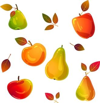 Leckere äpfel und birnen im herbst
