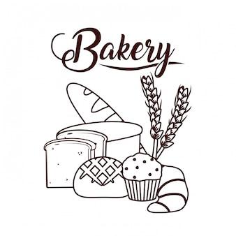 Leckere bäckerei-cartoon
