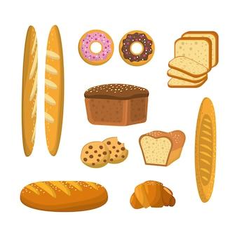 Leckere brot, donuts und kekse bäckerei