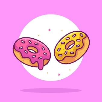 Leckere donuts illustration essen oder dessert logo vektor icon illustration im flachen stil