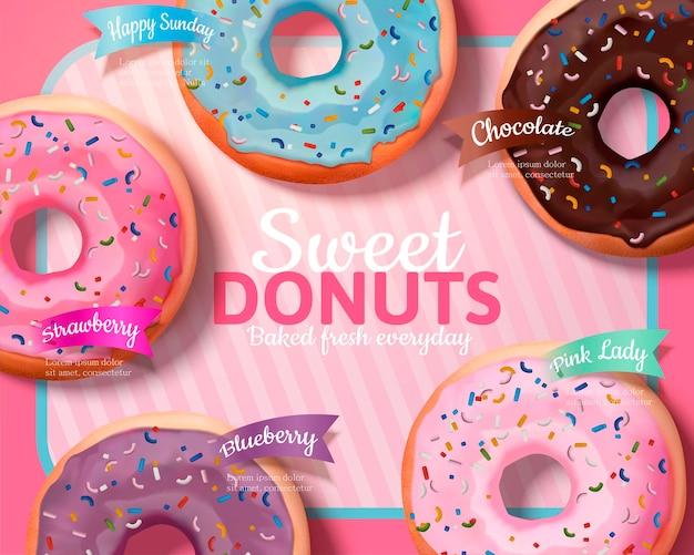 Leckere donuts in verschiedenen geschmacksrichtungen auf rosa gestreiftem banner