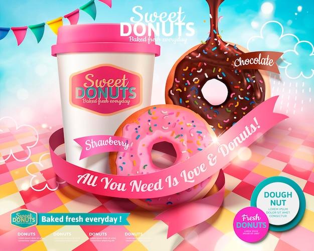 Leckere donuts mit kaffeebanner zum mitnehmen