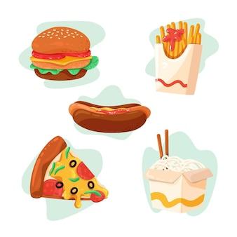 Leckere fast-food-sammlung Premium Vektoren