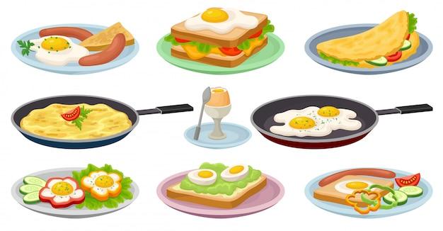 Leckere gerichte mit eiern gesetzt, frische nahrhafte frühstücksnahrung, element für menü, café, restaurant illustrationen auf einem weißen hintergrund