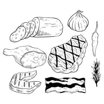 Leckere grillfleisch-kollektion mit gewürzen im sketch-stil