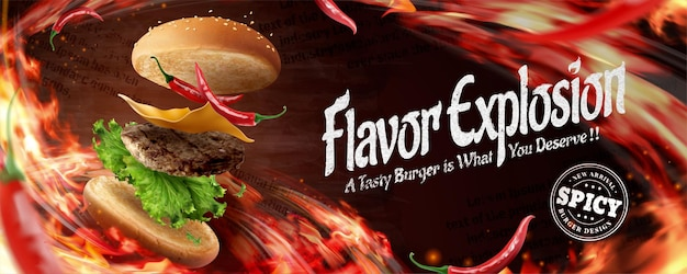 Leckere hamburger-werbebanner mit brennendem flammeneffekt