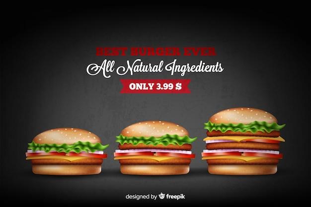 Leckere hamburgeranzeige