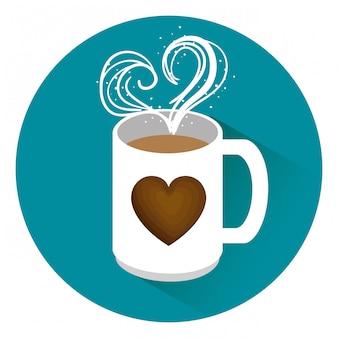 Leckere kaffeetasse mit herz