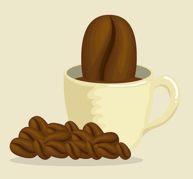 Leckere kaffeetasse mit kaffeebohnen