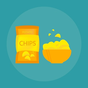 Leckere kartoffelchips in schüssel, biersnack für freunde im flachen stil. vektorillustration für banner, poster, werbung, verpackungsdesign.