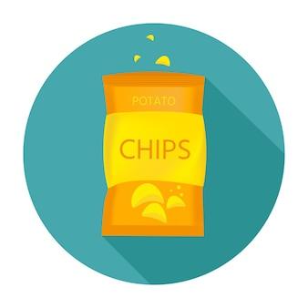 Leckere kartoffelchips mit packung, biersnack für freunde im flachen stil. vektorillustration für banner, poster, werbung, verpackungsdesign.