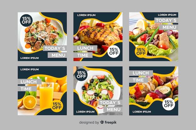 Leckere kulinarische instagram beitragssammlung mit foto