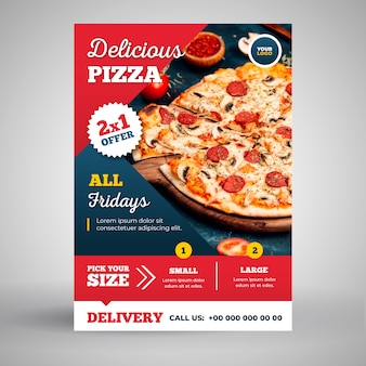 Leckere pizza flyer vorlage