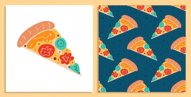 Leckere pizza. italienisches rezept. flacher cartoon, handgezeichnetes, nahtloses muster und kartensatz