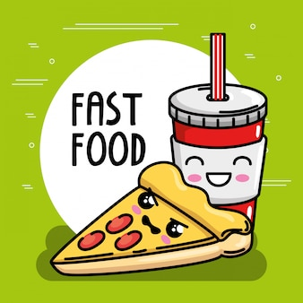 Leckere pizza mit soda kawaii charakter