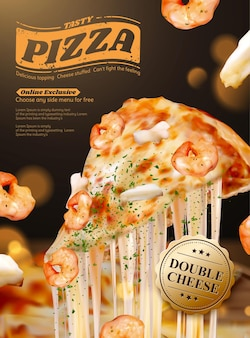 Leckere pizza-plakatwerbung der meeresfrüchte mit fadenförmigem käse in 3d-illustration, garnelen- und tintenfischring-bestandteilen