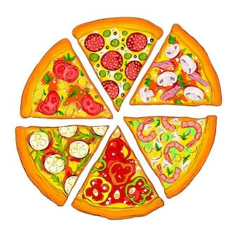 Leckere pizzastücke.