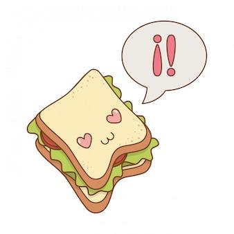 Leckere sandwich kawaii charakter