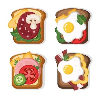 Leckere sandwiches mit verschiedenen zutaten leckeres frühstück