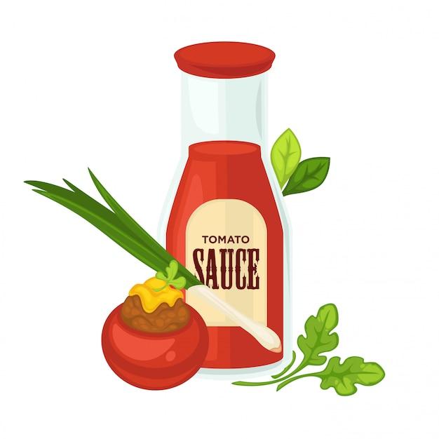 Leckere sauce in glasflasche mit frischem grün