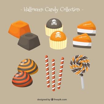 Leckere süßigkeiten und halloween süßigkeiten